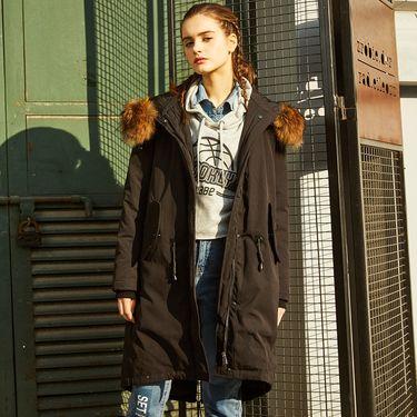 女式羽绒服 中长款大毛领女款街潮酷风衣式羽绒服冬装外套