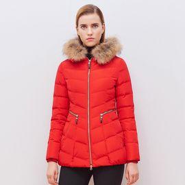 女式羽绒服 个性时尚修身通勤红色大毛领女士短款加厚羽绒服冬装外套