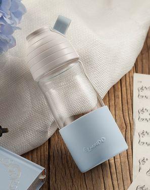 玻璃杯 可爱糖果硅胶套玻璃杯膳魔师子品牌水杯