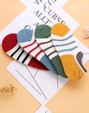 男袜 4双装【棉质透气】纯色条纹新款薄款船袜男袜子