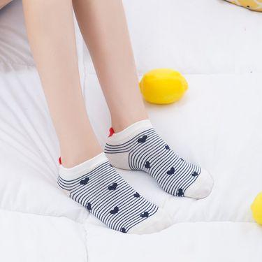 女袜 女袜 船袜 日系小清新 创意混搭 脚跟爱心款 棉袜 【5双装】