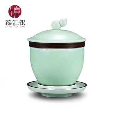 臻汇银 银茶杯陶瓷盖碗茶杯足银999金鱼茶具主人单杯盖碗功夫茶具品茗杯泡茶碗