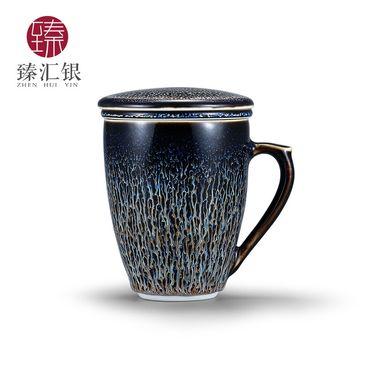 臻汇银 银茶杯 陶瓷盖碗茶杯 足银999莲花茶具 主人单杯盖碗功夫茶具 品茗杯泡茶碗