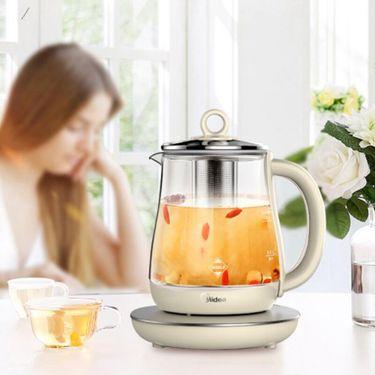 美的 养生壶1.5L家用电热水GE1511a煮茶壶烧水壶加厚玻璃杯煎药壶