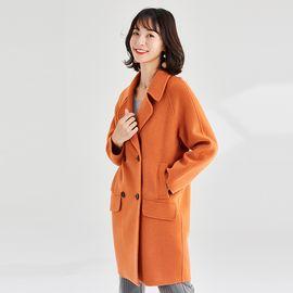 欧丝璐 秋冬新款呢大衣 韩版中长款外套女纯色双面呢大衣女97737