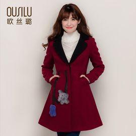 欧丝璐 秋冬女士保暖毛呢外套精致水貂羊皮拼接修身长款 91033
