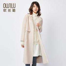 欧丝璐 秋冬新款呢大衣女 韩版长款刺绣双面呢大衣女97705