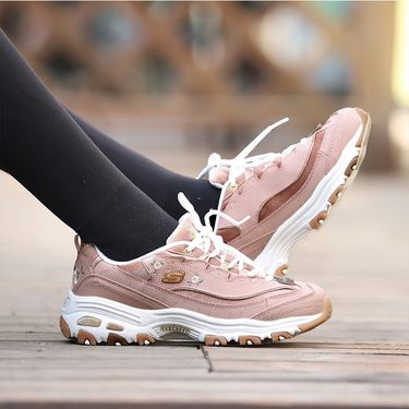 斯凯奇 Skechers 女鞋新款丝绒D'lites绣花熊猫鞋 刺绣复古鞋 13084