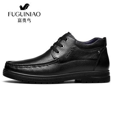 富贵鸟 冬季男士皮鞋男鞋真皮休闲棉鞋加绒加厚中年爸爸鞋父亲鞋 D809302R+AR