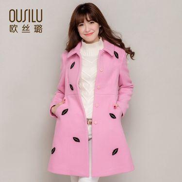 欧丝璐 秋冬女士保暖羊毛呢外套时尚中长款气质毛呢大衣女91053