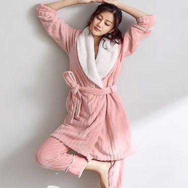 苏吉思 秋冬季韩版公主加厚可爱珊瑚绒睡衣女士卡通长袖法兰绒家居服套装LP-101