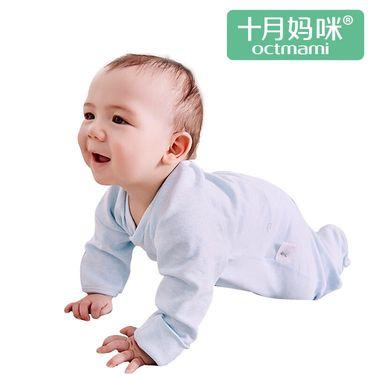 十月妈咪 【旗舰店】春秋新生婴儿纯棉偏襟连脚爬衣 肤舒适柔软新生婴儿服