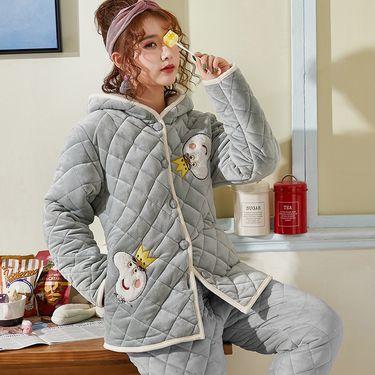 苏吉思 珊瑚绒夹棉睡衣女士冬季三层加厚连帽保暖加绒棉袄冬天套装家居服CW-40