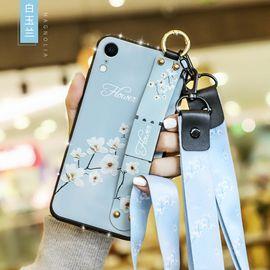 麦阿蜜 苹果XR手机壳iPhoneXR保护套全包防摔文艺碎花布纹腕带支架TPU软壳镶钻款