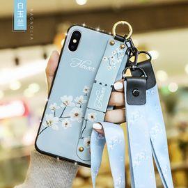 麦阿蜜 苹果XS Max手机壳iPhoneXS Max保护套全包防摔文艺碎花布纹腕带支架TPU软壳镶钻款