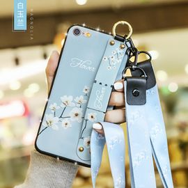 麦阿蜜 苹果6手机壳iPhone6s保护套6plus全包防摔6s文艺碎花布纹腕带支架TPU镶钻款软壳