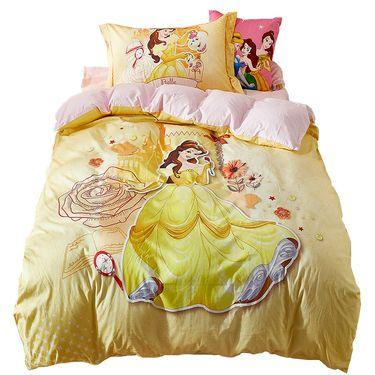 DISNEY 迪士尼 卡通儿童床上用品纯棉床单被套三件套四件套-贝儿公主