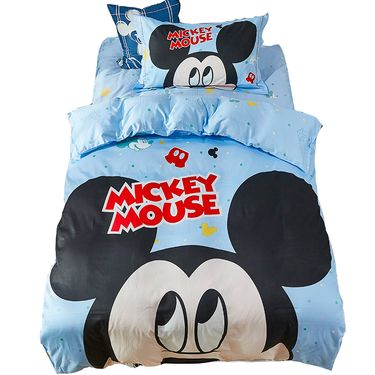 DISNEY  迪士尼 卡通儿童床上用品纯棉床单被套三件套四件套-贡缎米奇