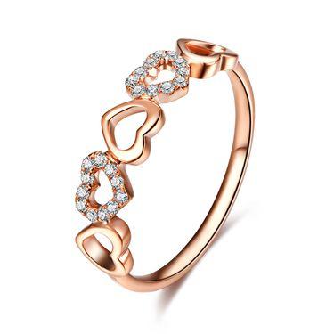 佐卡伊 玫瑰18k金钻戒心相连心形钻石戒指