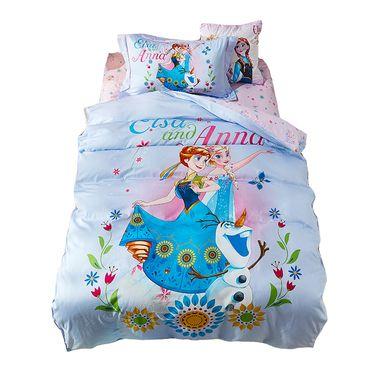 DISNEY 迪士尼 卡通儿童床上用品纯棉床单被套三件套四件套-爱莎与安娜