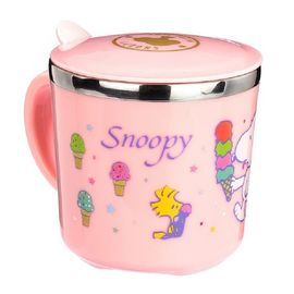 SNOOPY 史努比儿童水杯家用304不锈钢口杯幼儿园宝宝防摔喝水杯带盖杯子