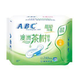 ABC 卫生巾澳洲茶树精华系列卫生巾 纤薄日用 网感 棉柔表层240mm 1包8片