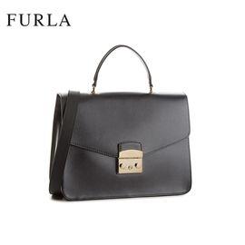 FURLA /芙拉 METROPOLIS系列潮流单肩手提锁扣包 962777 黑色 洲际速买