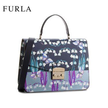 FURLA /芙拉 METROPOLIS系列潮流单肩手提锁扣包 962760 花朵蝴蝶装饰 洲际速买