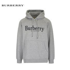 BURBERRY/巴宝莉 BURBERRY/博柏利 新品男款纯棉连帽卫衣8007120浅灰色  洲际速买