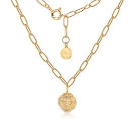Astrologie 狮子项链时尚复古金色锁骨链女简约设计吊坠短款颈饰毛衣链