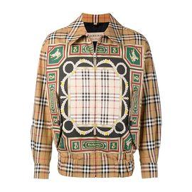 BURBERRY 博柏利 典藏围巾印花哈林顿男士古典黄色外套#8003425 联正国际