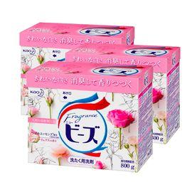 Merries/花王 日本进口玫瑰花香洗衣粉 800gX3盒新版 含柔顺剂