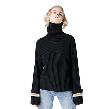 初语 2018春秋新款高领宽松条纹长袖套头粗毛线宽松毛衣针织衫女 8740423004