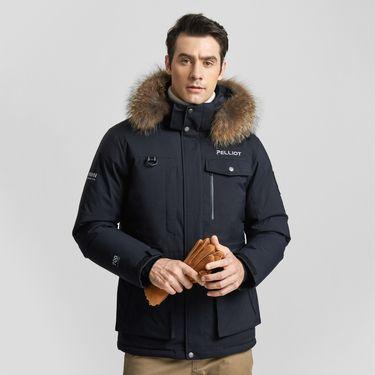 伯希和  PELLIOT户外羽绒服 男女秋冬加厚保暖透气连帽毛领羽绒外套
