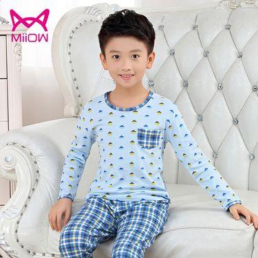 Miiow/猫人 儿童家居服秋冬套装纯棉男童女童睡衣宝宝空调服长袖童装
