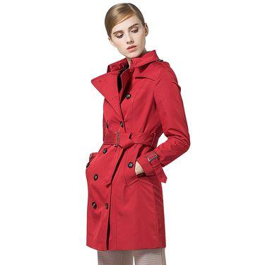 经典故事 秋季2018新款短风衣女通勤系带双排扣修身小个子风衣外套 C173C000481