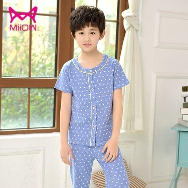 Miiow/猫人 儿童睡衣纯棉长袖春夏季男女孩短袖中大童开衫男童装家居