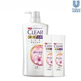 清扬 去屑洗发水 樱花沁爽型 500ml+效水润养护型100mlx2