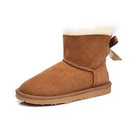 Ever UGG 【经典蝴蝶结】迷你后跟蝴蝶结经典羊皮毛一体短筒雪地靴女 澳洲进口 11737 IVY