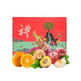 花果鲜 【年货礼盒】水果礼盒B套餐(金奇异果+阿克苏苹果+火龙果红心+17.5°橙)