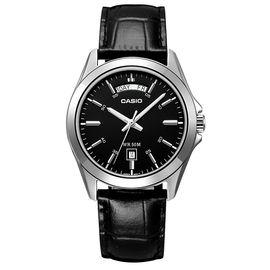 卡西欧 (CASIO)手表 简约男士石英手表 黑盘黑色皮带MTP-1370L-1A
