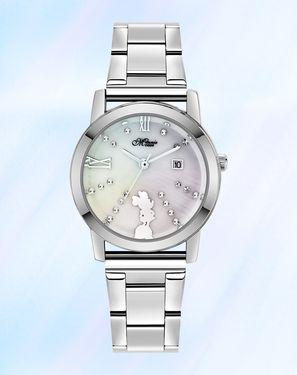 迪士尼【唯品会】Disney米妮罗马刻度带日历钢带石英女表舒适手表