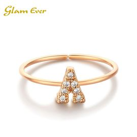 glam ever GlamEver 你的专属系列 全钻字母戒指 李沁林心如同款 26字母