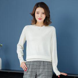慕曼 100%羊毛衫女款圆领纯色修身女式100%羊毛衫M48120