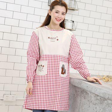 苏吉思 纯棉格子围裙厨房做饭围腰长袖罩衣韩版成人劳保工作服