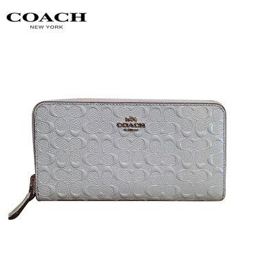 COACH 蔻驰 女士钱包 米色漆皮长款钱夹 F54805