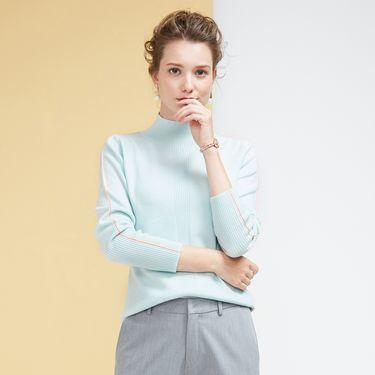 慕曼 女款纯色半高领女士100%羊毛衫M48130