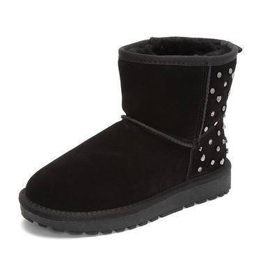 Tata 他她专柜同款灰色牛剖层革女休闲靴毛里雪地靴BMF02DD8