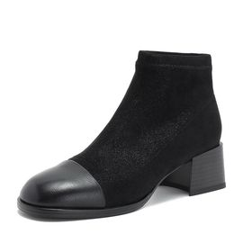 Tata 他她专柜同款黑色拼接套筒休闲女短靴CXF02DD8
