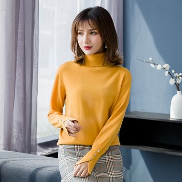 慕曼 女款高领纯色修身女式100%羊毛衫M48901